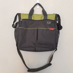 Skip Hop Diaper Bag Gray Chartreuse Clean